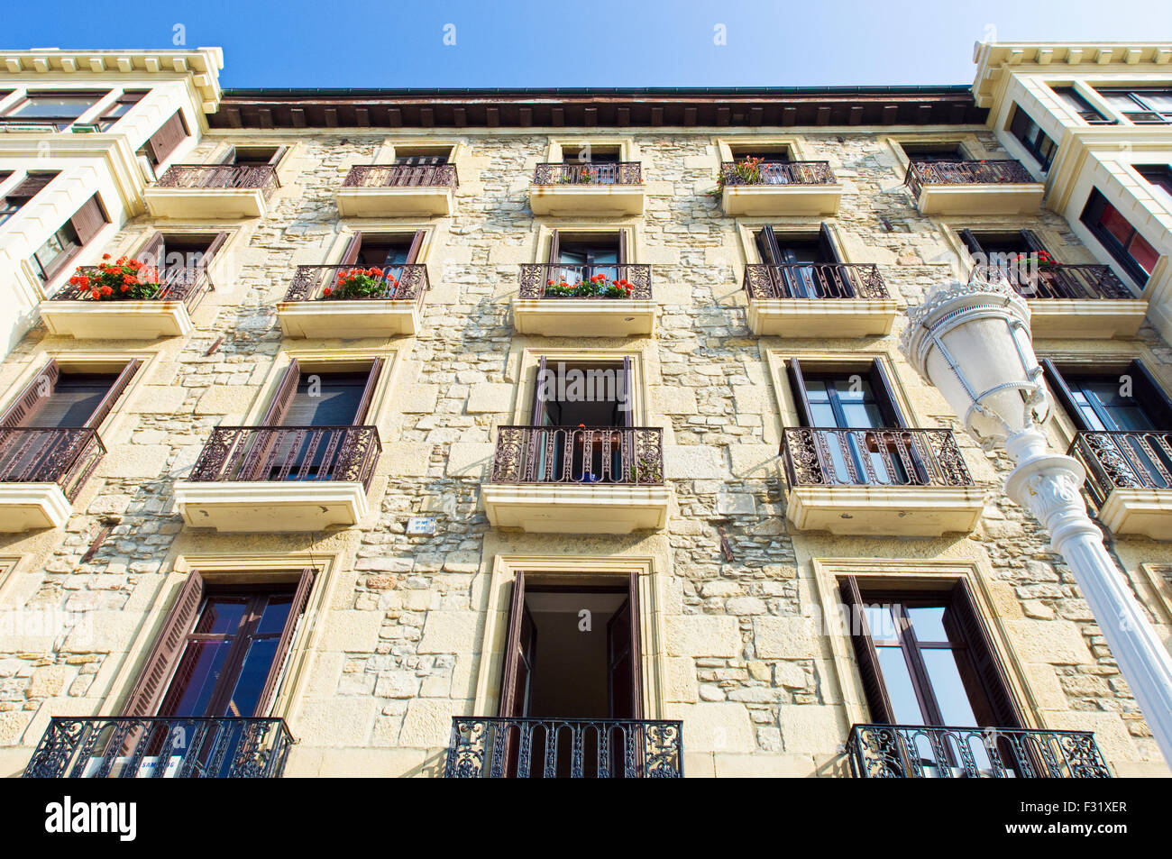 Apartment and condominium detail on Boulevard Zumardia, Parte Vieja, Old Quarter, in San Sebastian, Spain - Stock Image