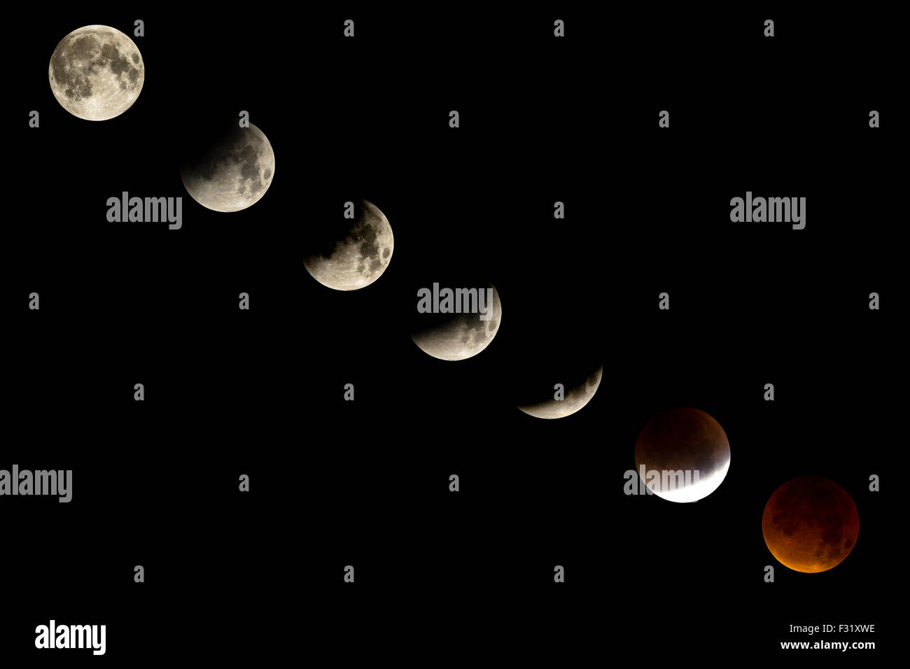 England, UK. 27th September, 2015. Lunar eclipse called bloodmoon showing the phases of eclipse  Credit:Andy Myatt/Alamy - Stock Image