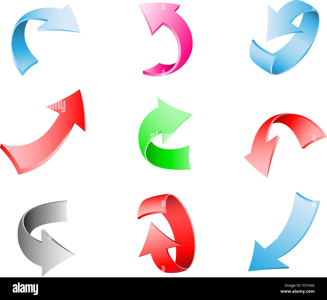 Different multi-colored 3d arrows isolated on the white background - Stock Vector