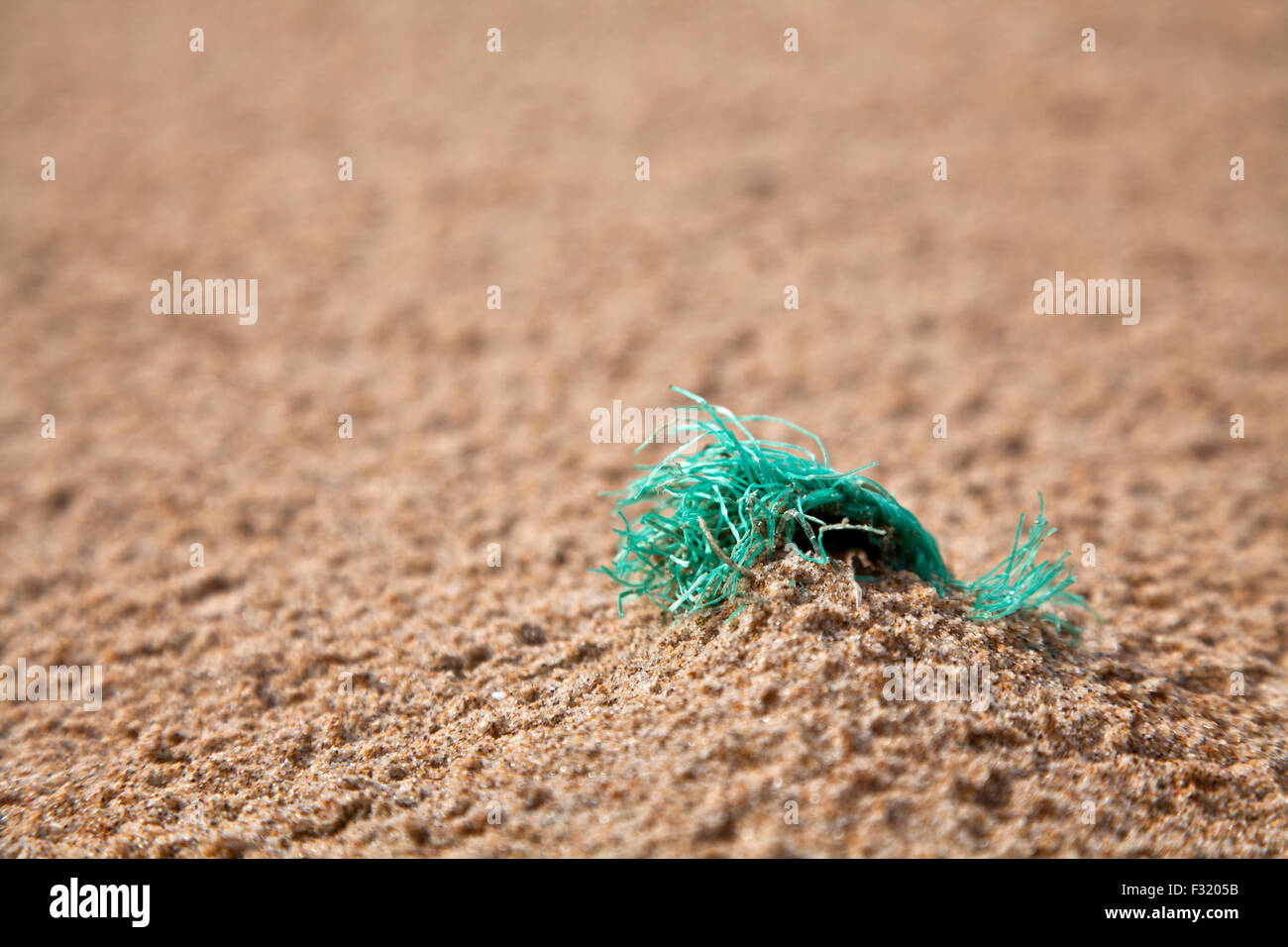 Green plastic debris on a beach. - Stock Image