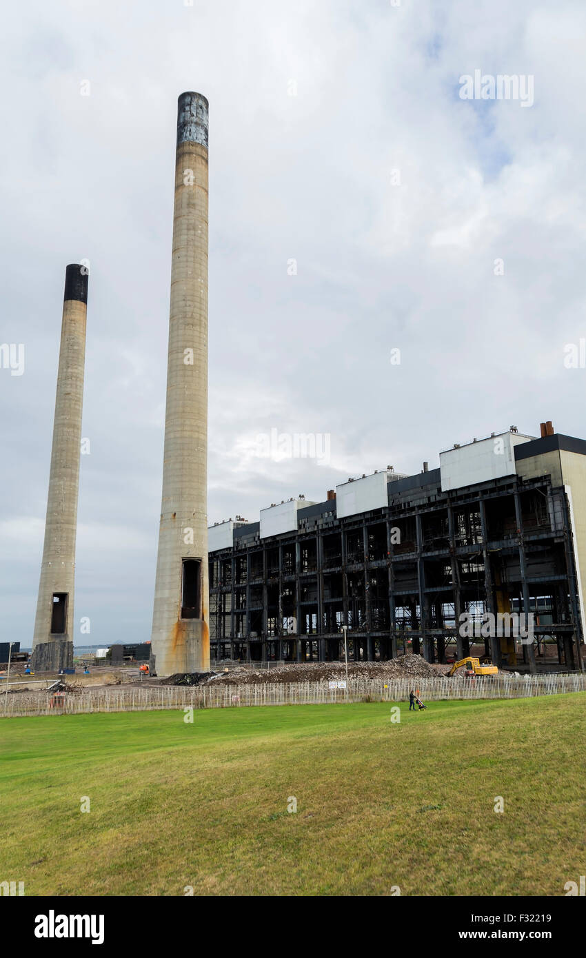 The chimneys, boiler building and turbine hall of Cockenzie Power Station, all being prepared for demolition. - Stock Image