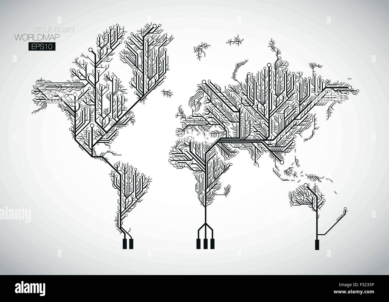World map connected by circuit board lines vector background stock world map connected by circuit board lines vector background gumiabroncs Choice Image
