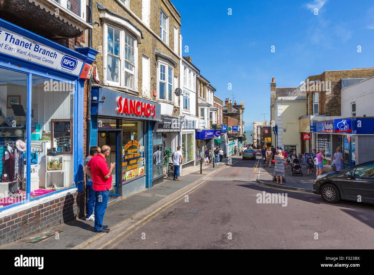 View down the High Street towards the sea, Broadstairs, Kent, England, UK - Stock Image