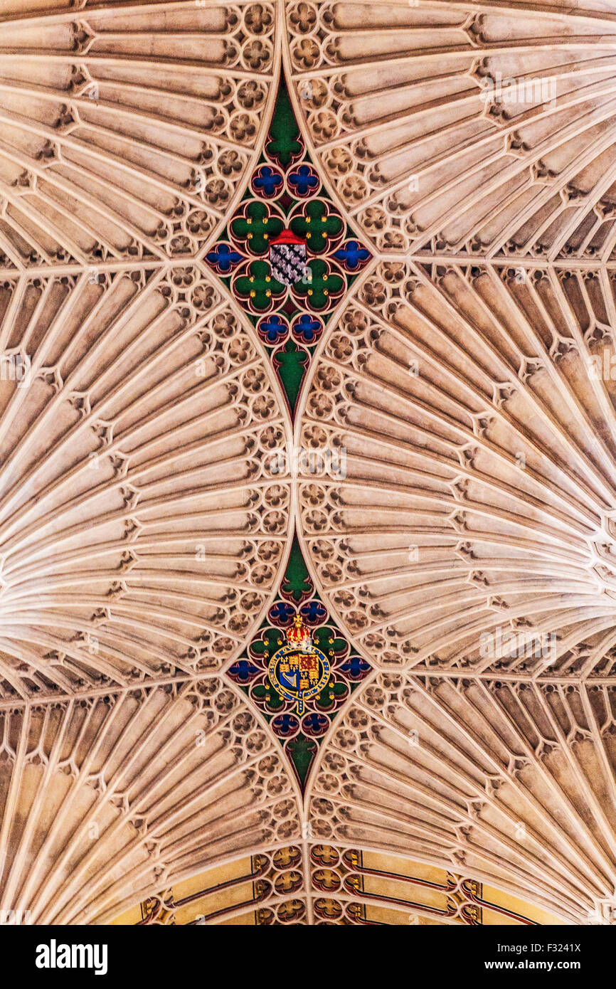 Detail ofthe fan vaulting ceiling in Bath Abbey. - Stock Image