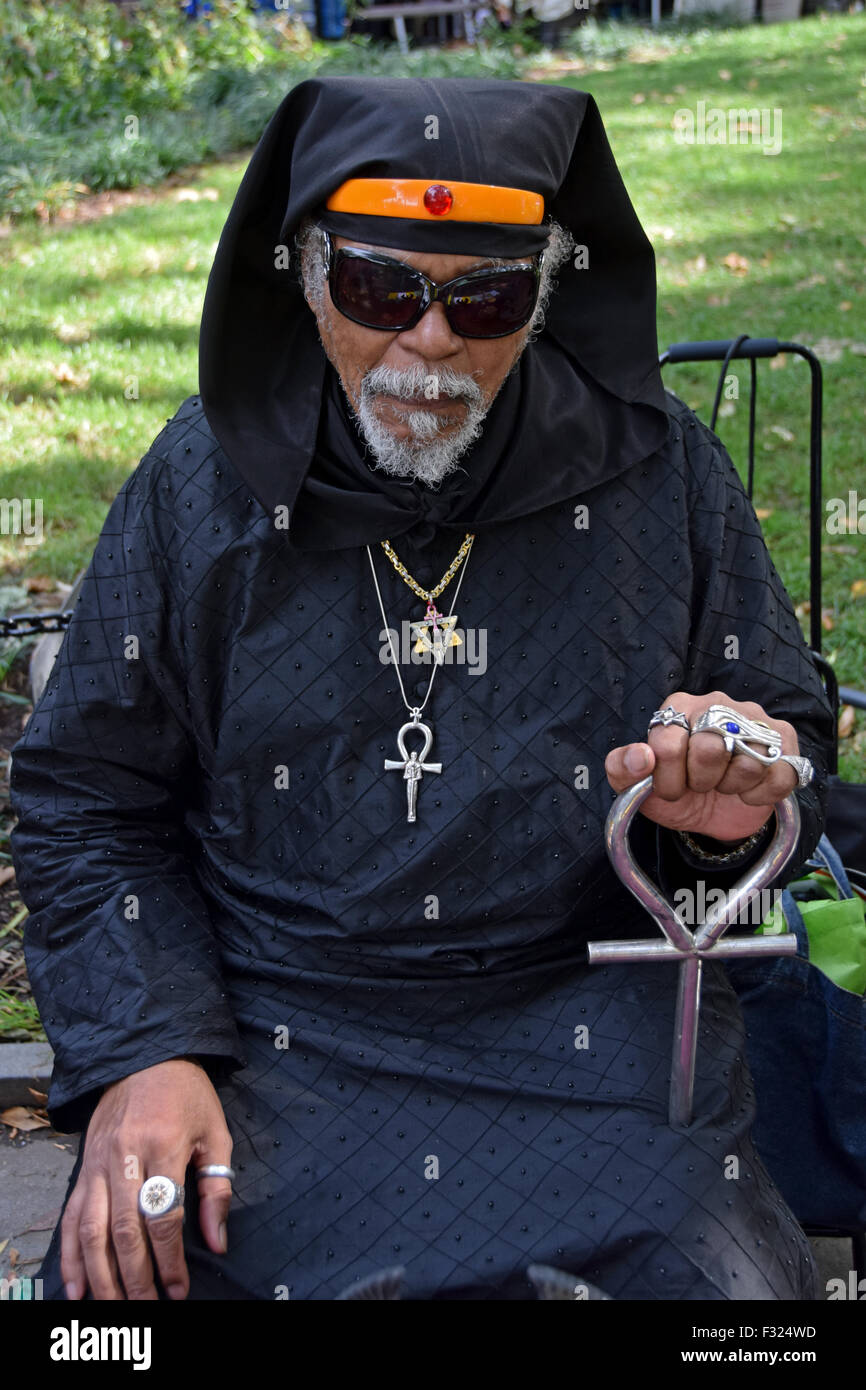 Portrait of an attendee of the Pagan Pride Day Harvest Festival in Washington Square Park in Greenwich Village, - Stock Image