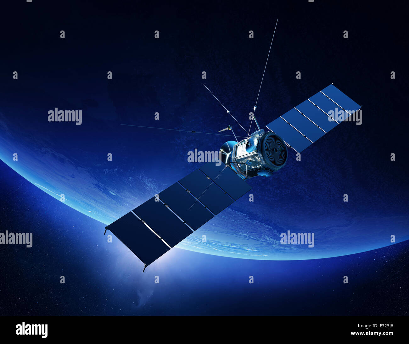 Communications satellite orbiting Earth with sunrise in space (Elements of this 3d render furnished by NASA) - Stock Image