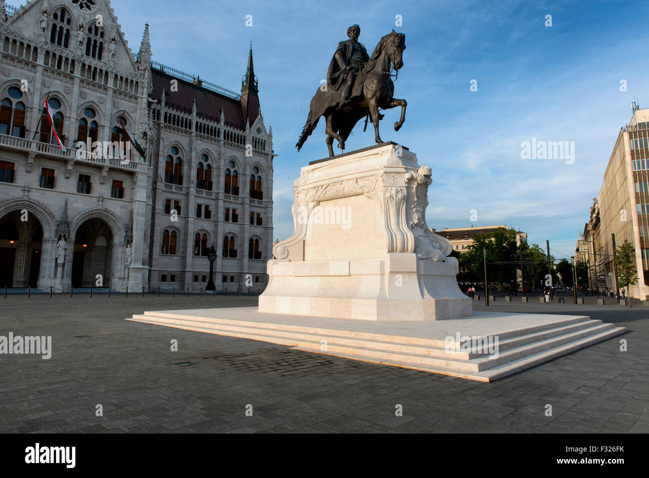 Statue of Count Gyula Andrassy, Parliament Square, Budapest, Hungary - Stock Image