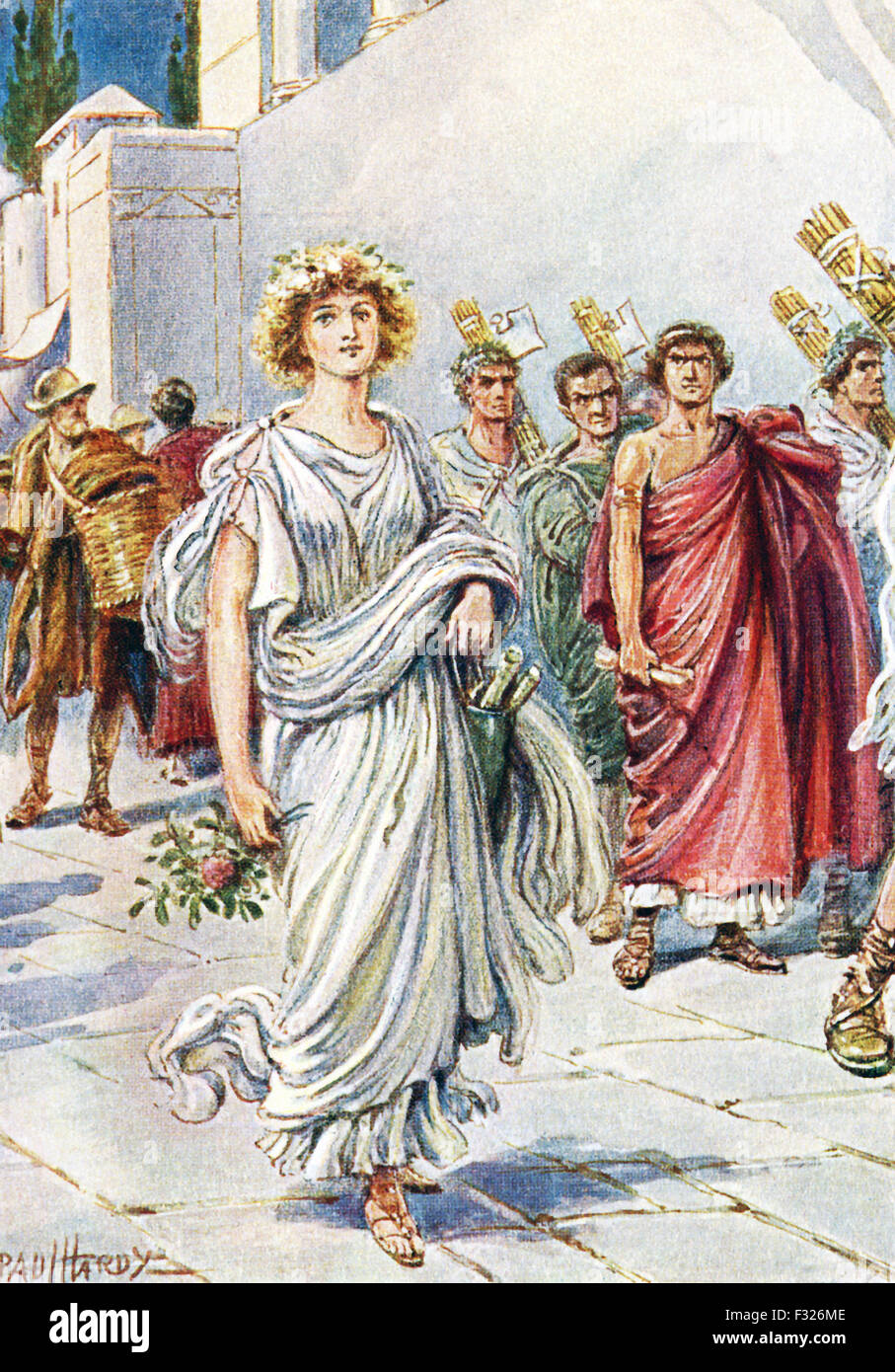 According to the ancient Roman historian Livy, Virginia (also spelled Verginia) was the daughter of the respected - Stock Image