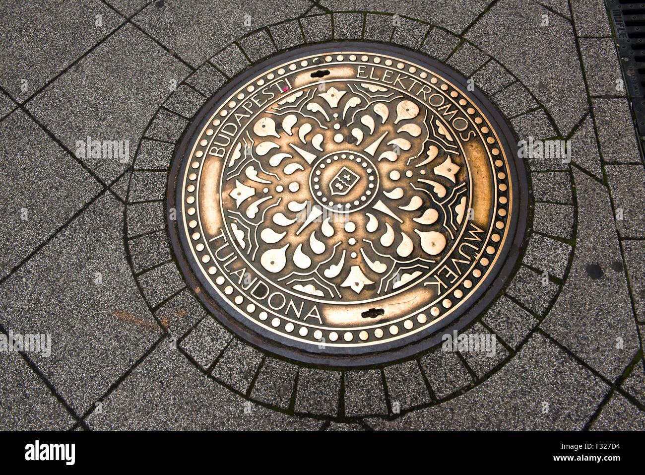Budapest Manhole Cover, Hungary - Stock Image