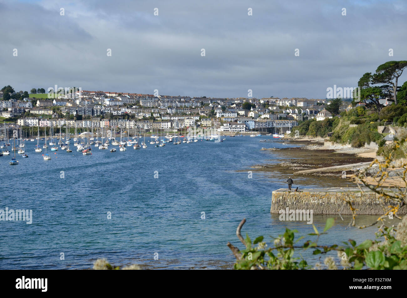 A view of Falmouth across Carrick Roads from Flushing in Cornwall - Stock Image