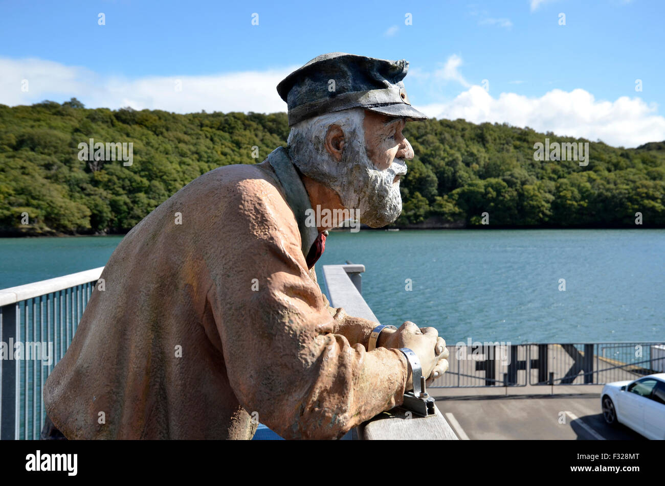 The King Harry car and passenger ferry on the river Fal between Philleigh and Trelisick in Cornwall Stock Photo