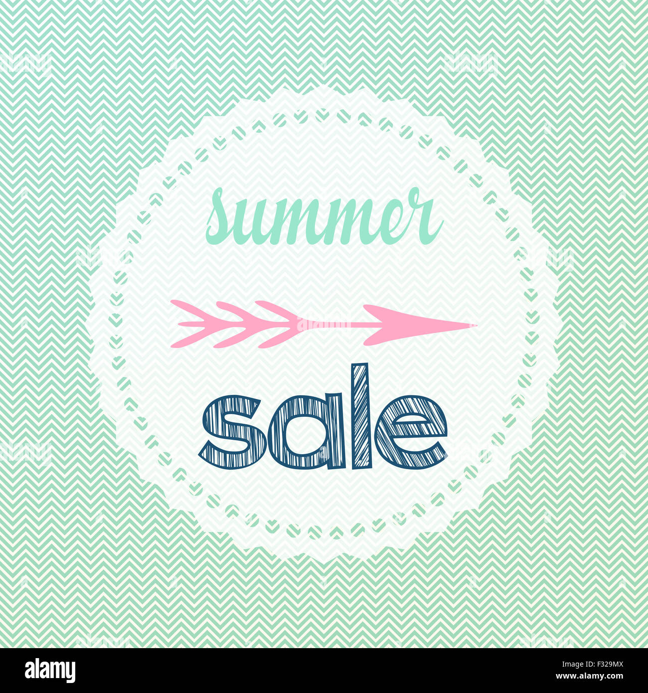 illustration of chevron waves patterned summer sale sign stock photo