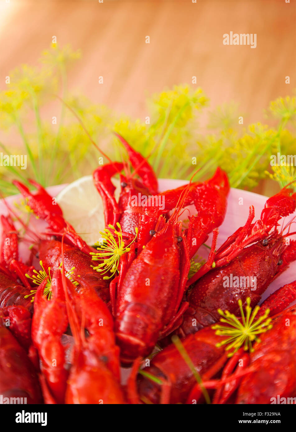 Image of freshly cooked crayfish. - Stock Image