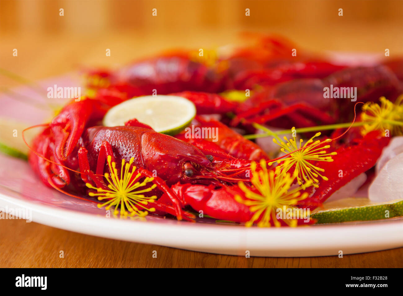 Image of a plate of freshly caught crayfish. - Stock Image