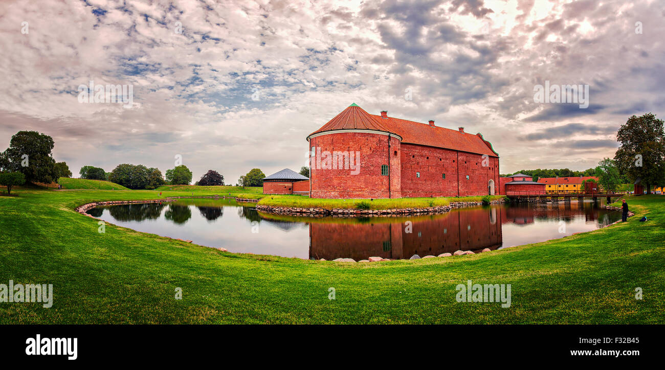 Image of Landskrona Citadel on a cloudy morning. Stock Photo