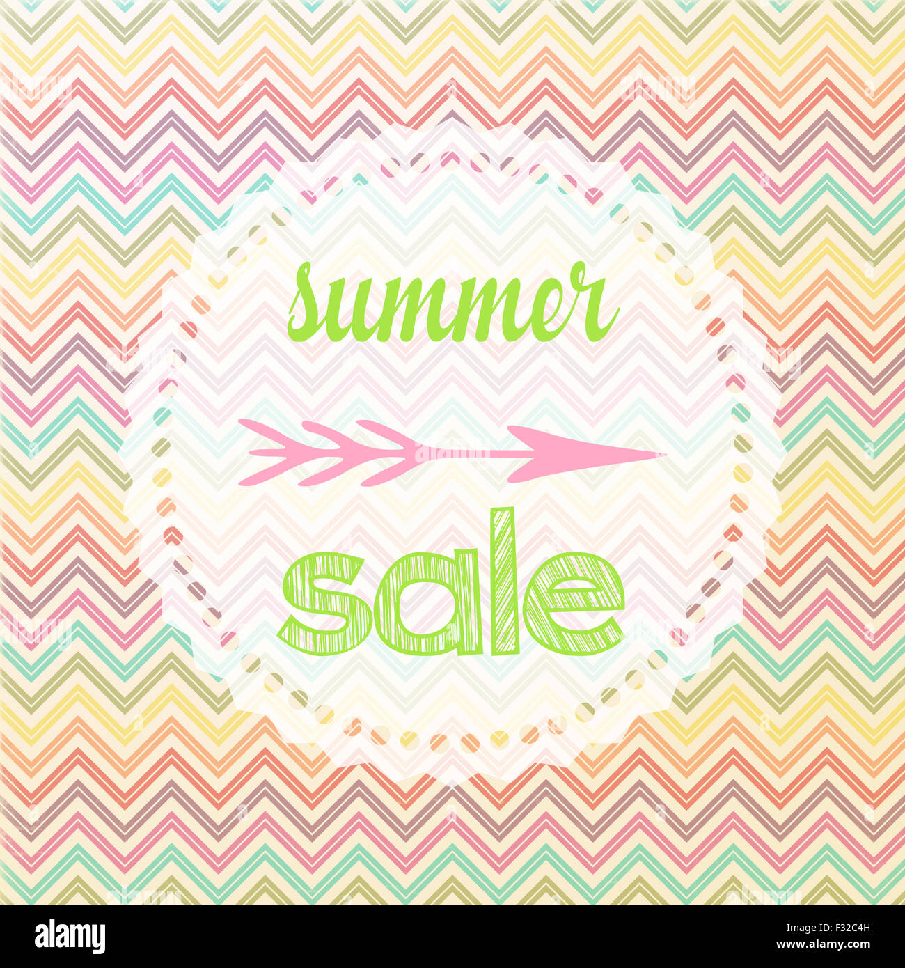 Illustration of a summer sale sign with chevron pattern