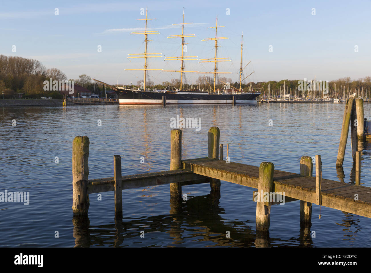 Jetty and 'Passat' four-masted steel barque, Travemunde, Lubeck, Schleswig-Holstein, Germany, May - Stock Image