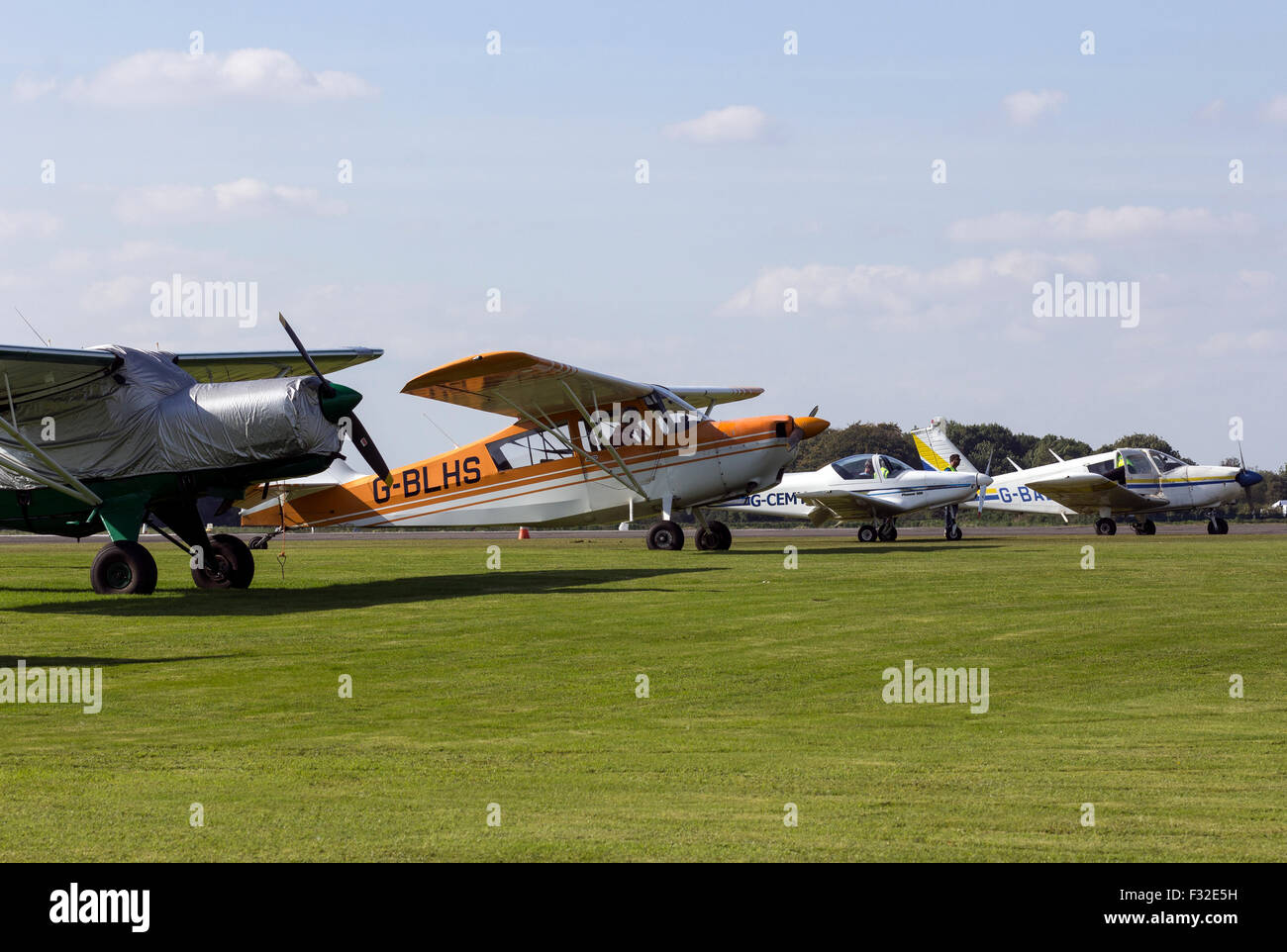 planes at dunkeswell airport,Dunkeswell Aerodrome is situated in the heart of the Blackdown Hills, 6 miles North - Stock Image