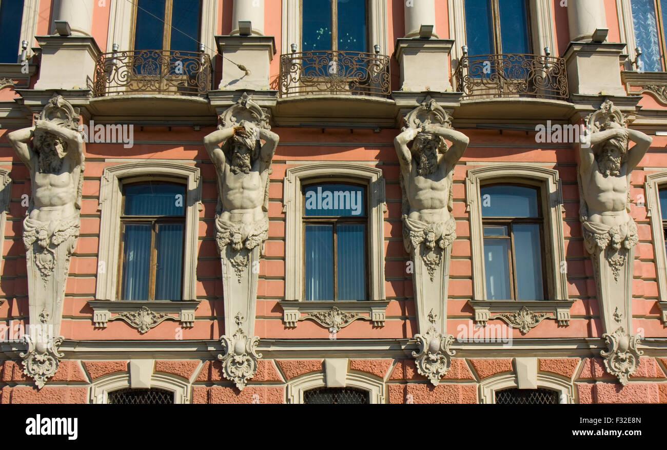 St. Petersburg, Russia - July 01, 2012: detail of palace of Beloselskih-Belozerskih, 1799-1800. - Stock Image