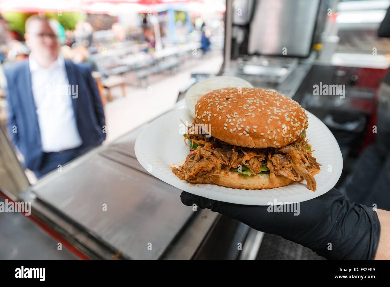 Hamburg Germany 11th Sep 2015 A Pulled Pork Burger At The