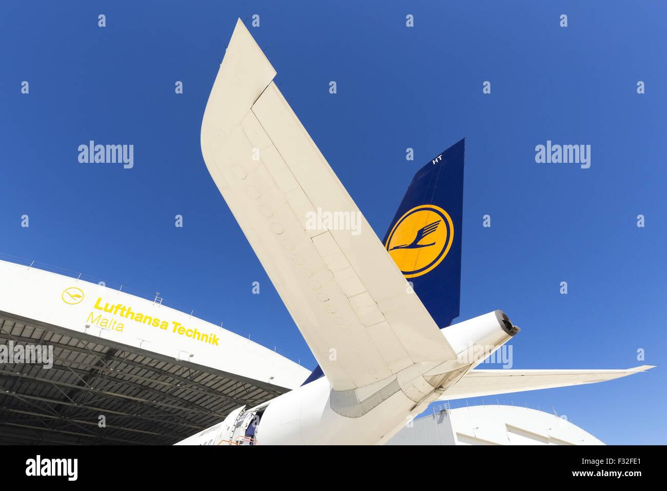 Lufhansa Airbus A340-600 being serviced at Lufhansa Technik Malta. - Stock Image