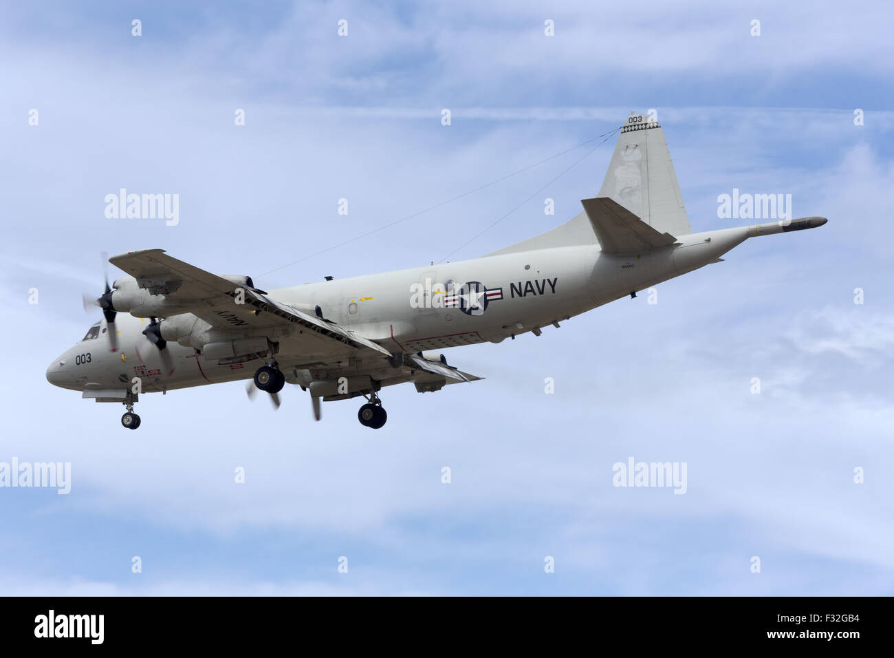 United States Navy Lockheed P-3C Orion landing for the airshow. Stock Photo