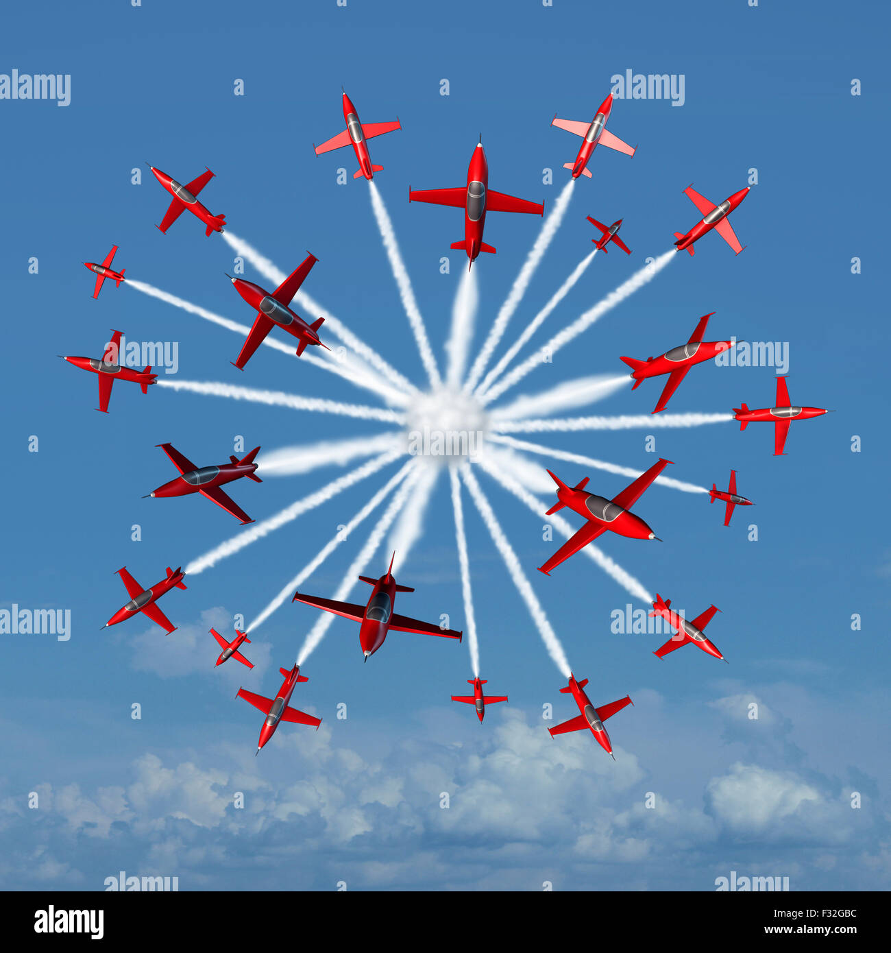 Global marketing concept as a coordinated group of acrobatic jet airplanes radiating out from a center point towards - Stock Image