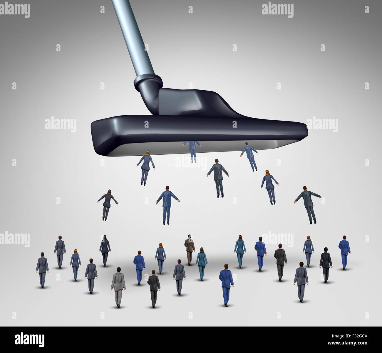 Employee management business concept as a giant vacuum cleaner sucking up businesspeople as businessmen and businesswomen - Stock Image