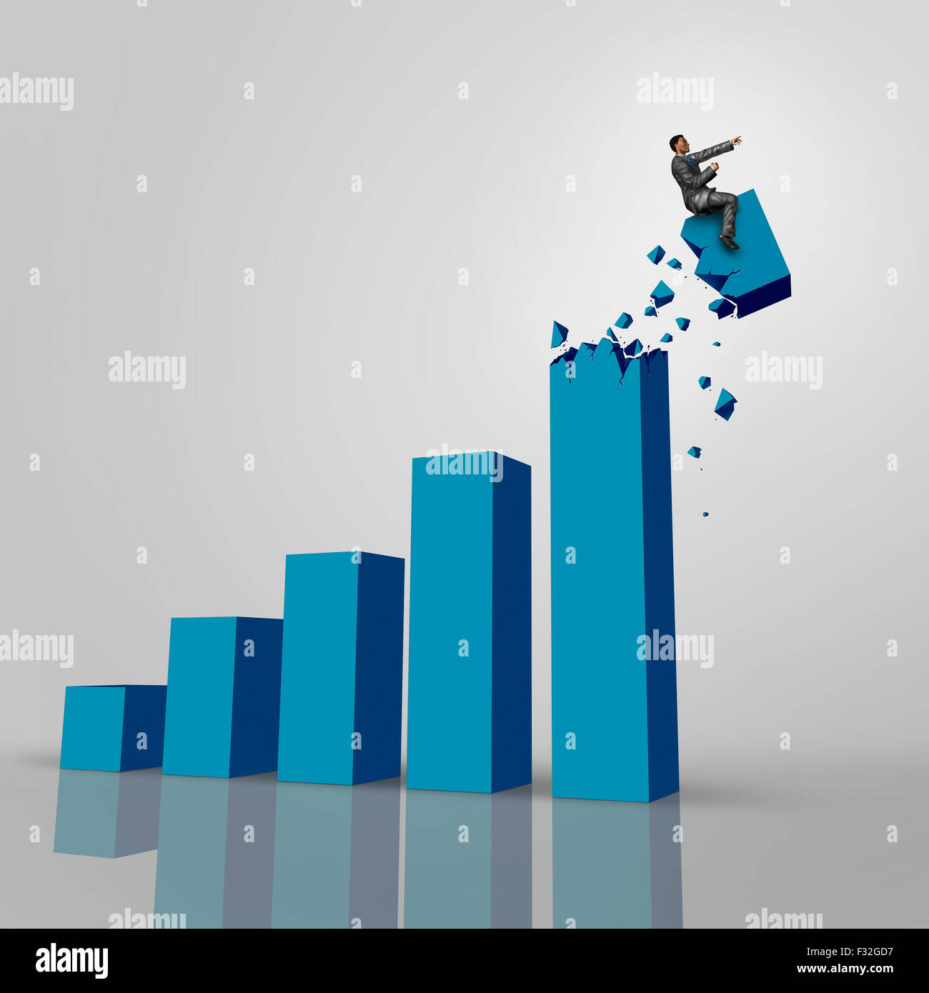 Businessman chart concept as a financial symbol for taking charge of profits increase success to a new level as - Stock Image