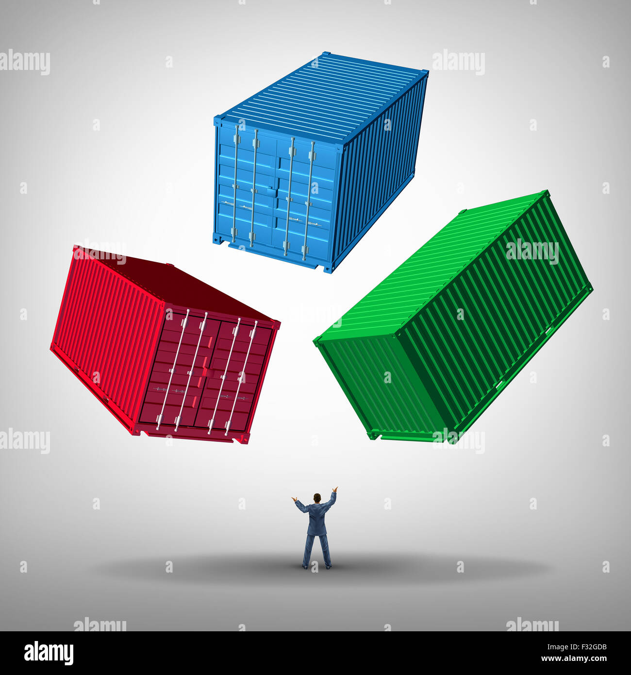 Freight cargo management concept as a businessman or shipping manager juggling heavy metal train containers as a - Stock Image