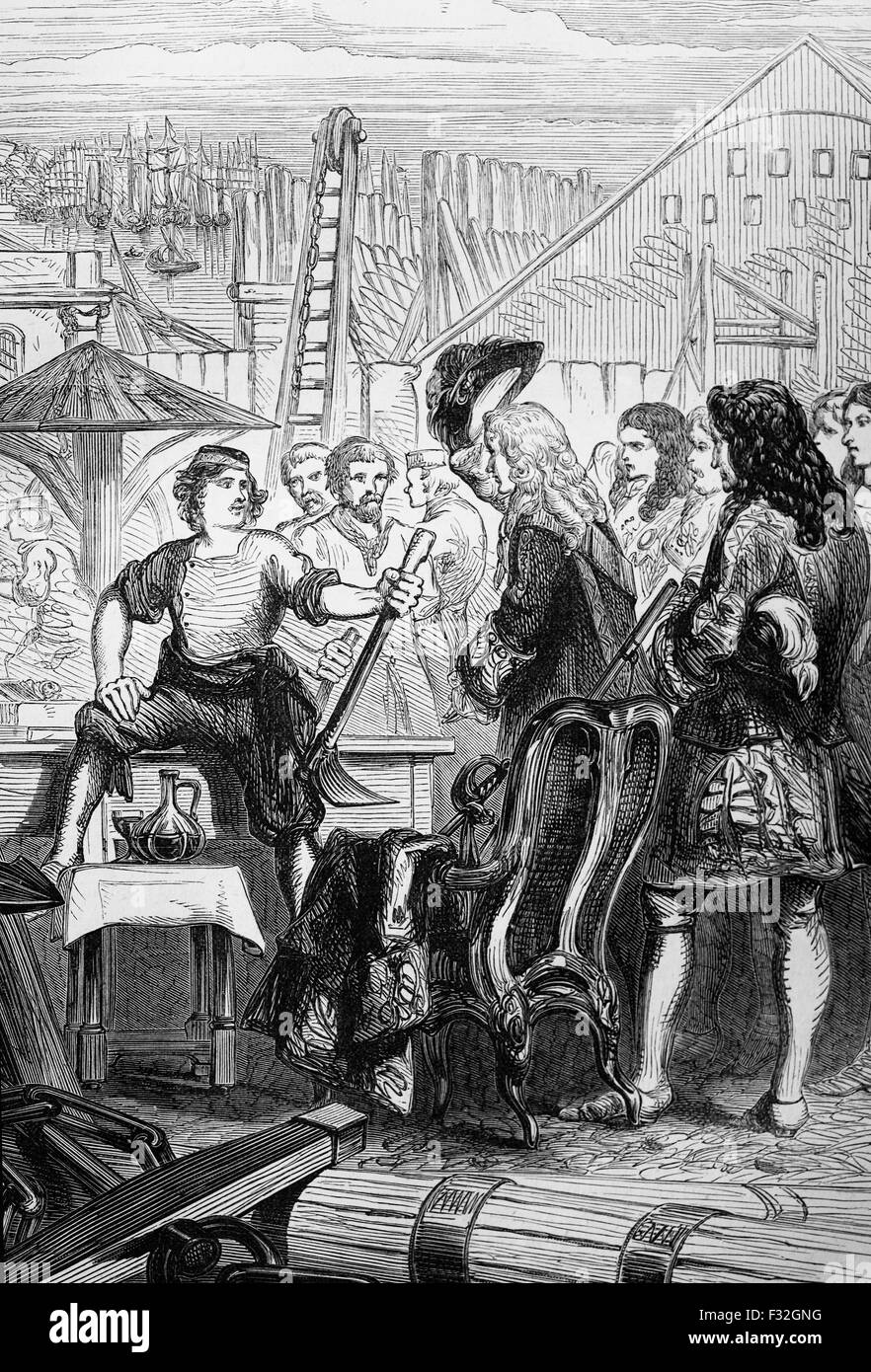 Peter the Great in a British Shipyard in January 1698. He had arrived in England from Holland, determined to study - Stock Image