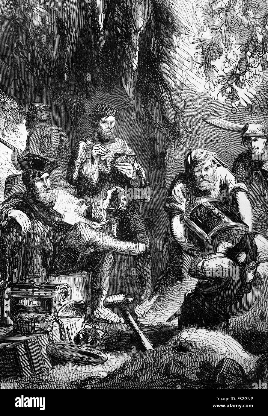 William 'Captain' Kidd (1645–1701) watching his crew conceal treasure in a cavern. He was a Scottish sailor - Stock Image