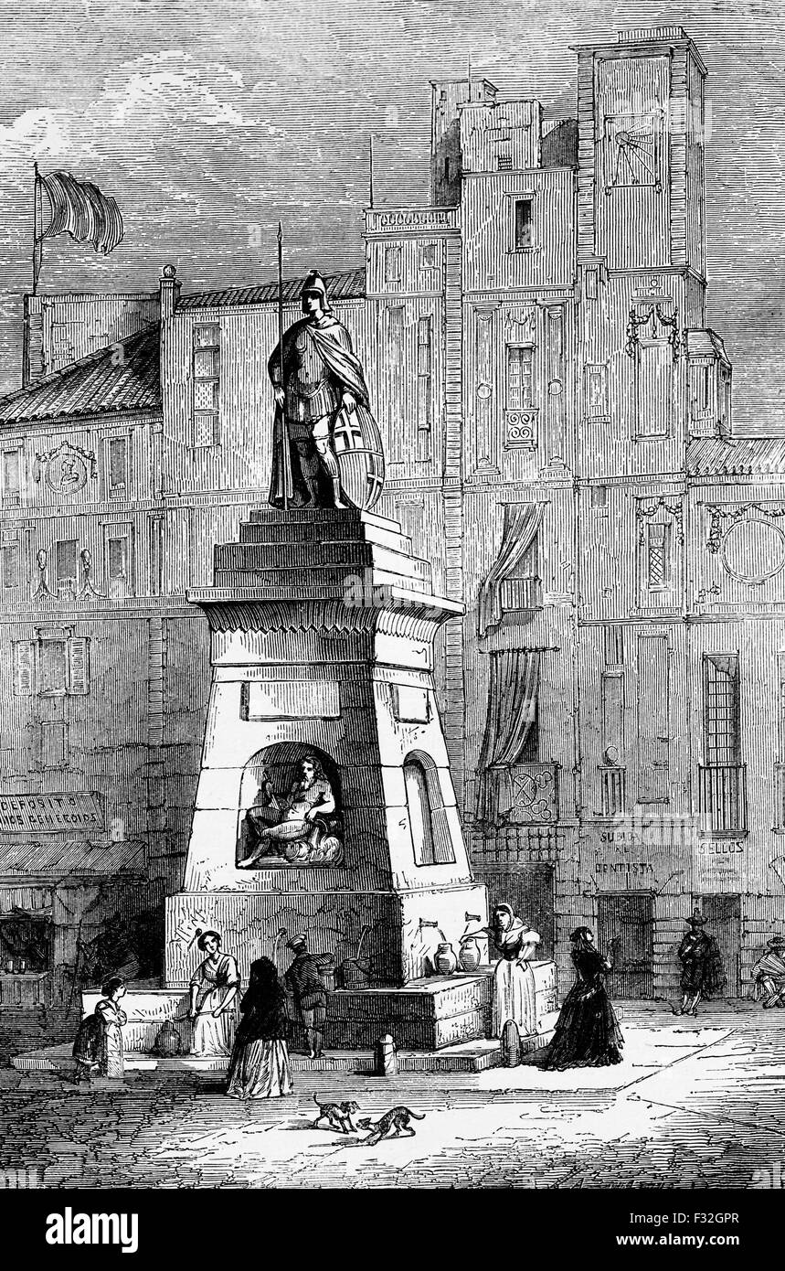 A streetscape in Barcelona, Spain around 1705 with the Old Man's Fountain. - Stock Image