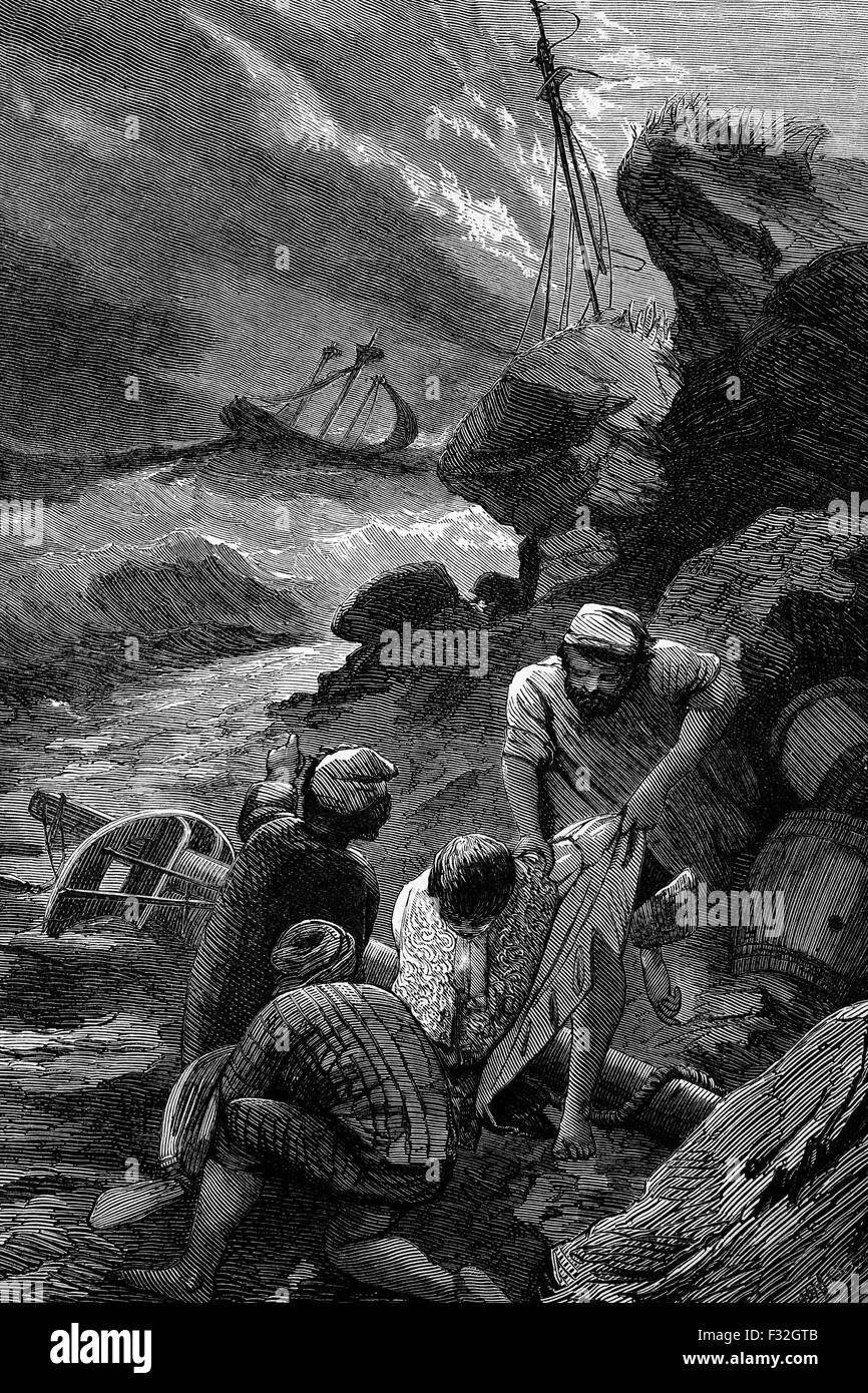 The Scilly naval disaster of 1707 one of the worst maritime disasters in the history of the British Isles.  During - Stock Image