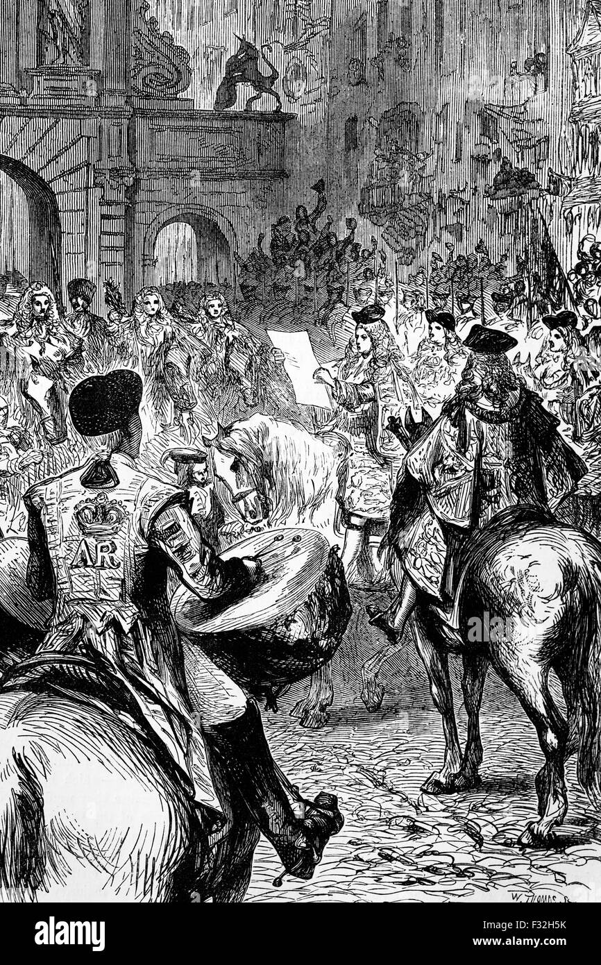 The proclamation of George I, proclaimed King of Great Britain and Ireland after Queen Anne suffered a stroke and - Stock Image