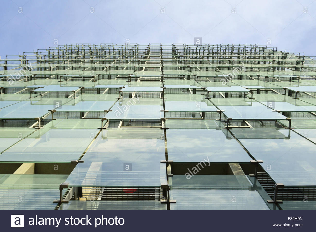 glass facade design office building. Modern Office Building Glass Facade Cladding Low Angle Viewpoint, Barcelona Spain Europe - Stock Image Design N