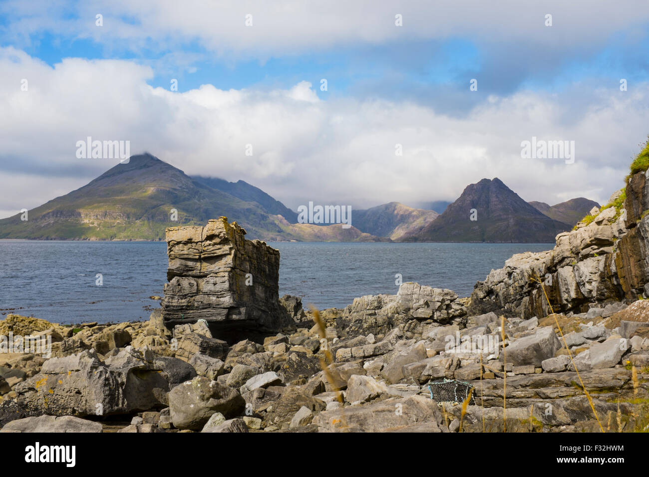 Loch Scavaig and the Black Cuillin. - Stock Image