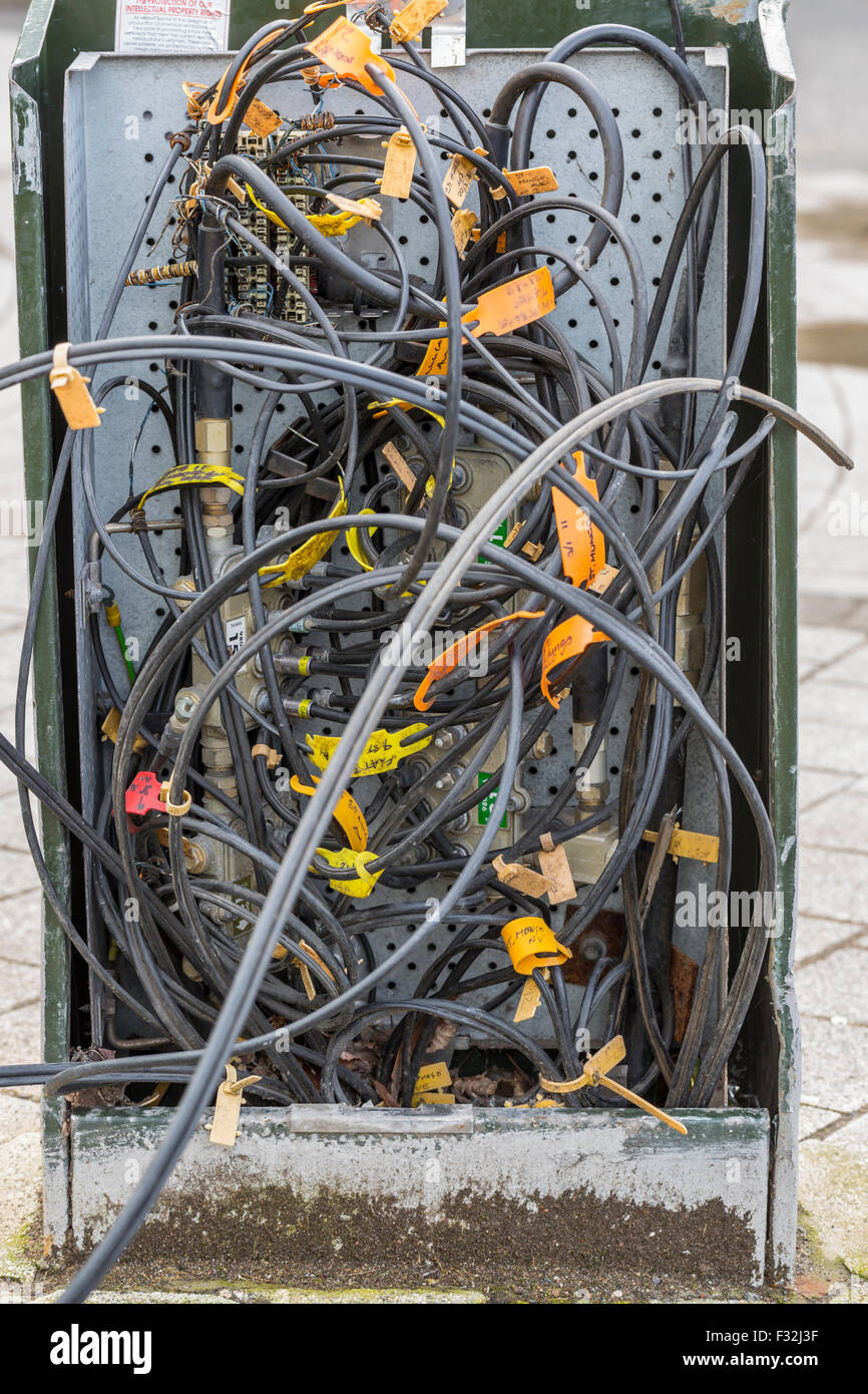 Junction Box Stock Photos Images Alamy Outdoor Telephone Wiring Enclosure A Damaged On Street Uk Image