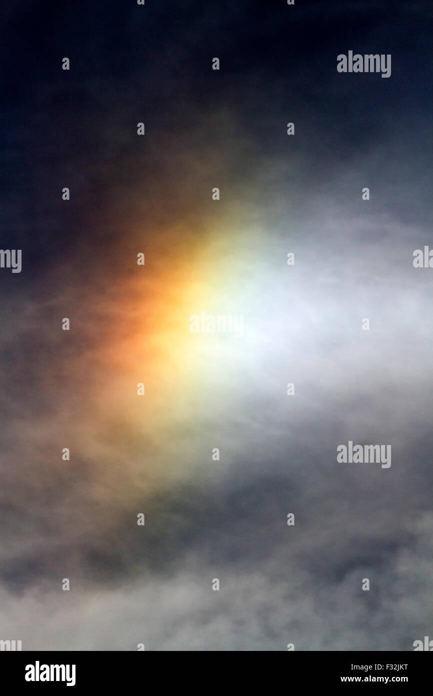 Buckshaw Village, Lancashire, UK. 28th September, 2015. UK Weather: Solar Rainbow over Buckshaw Village near Euxton - Stock Image