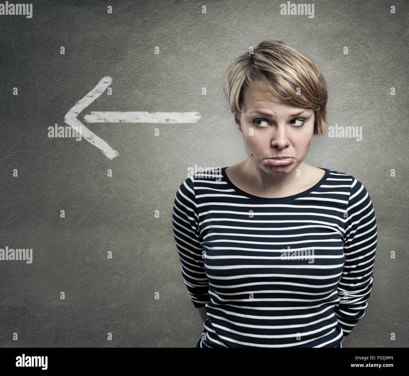 Concept of a guilty person, confused, ashamed - Stock Image
