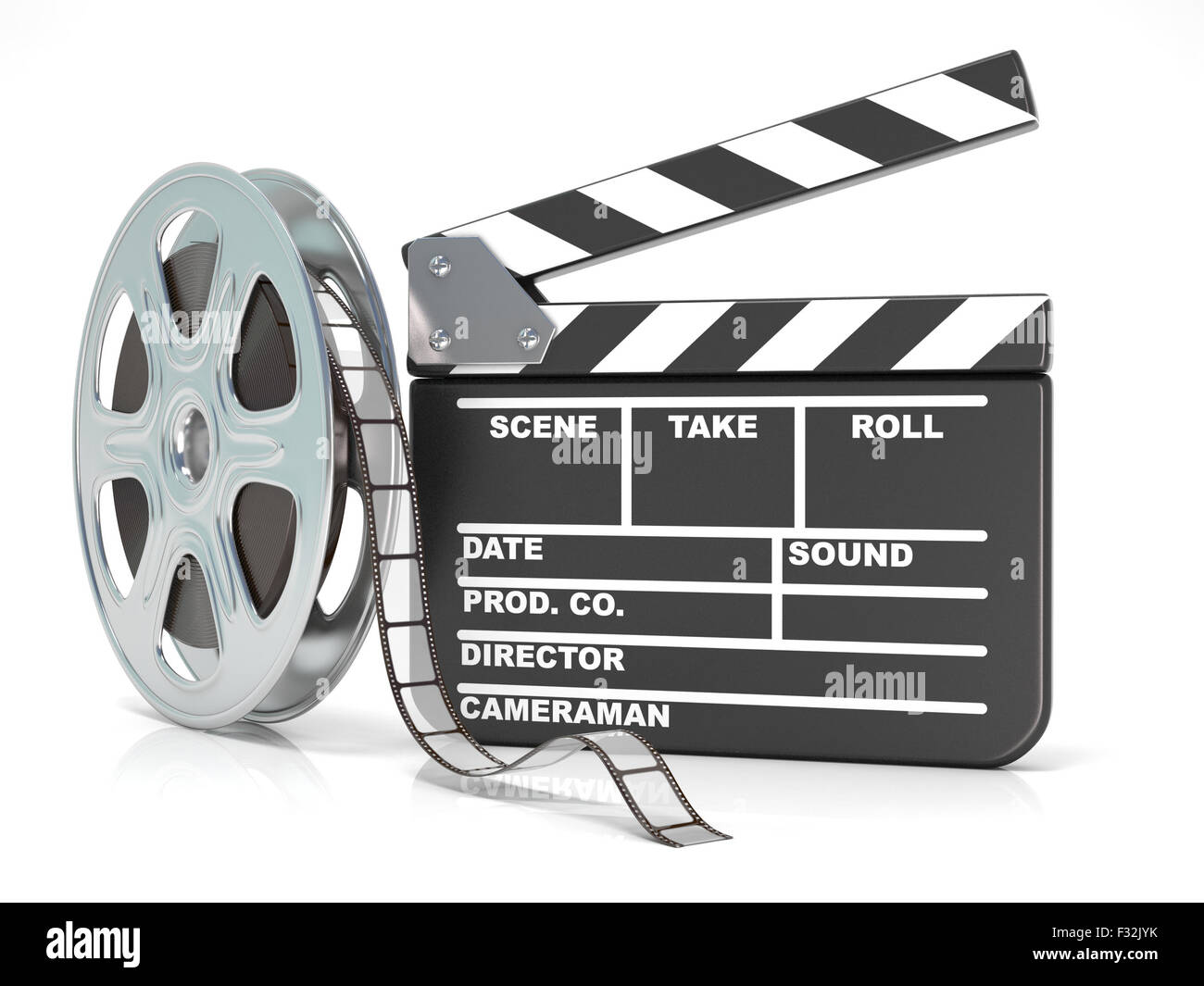 Film Reel And Movie Clapper Board Video Icon 3d Render