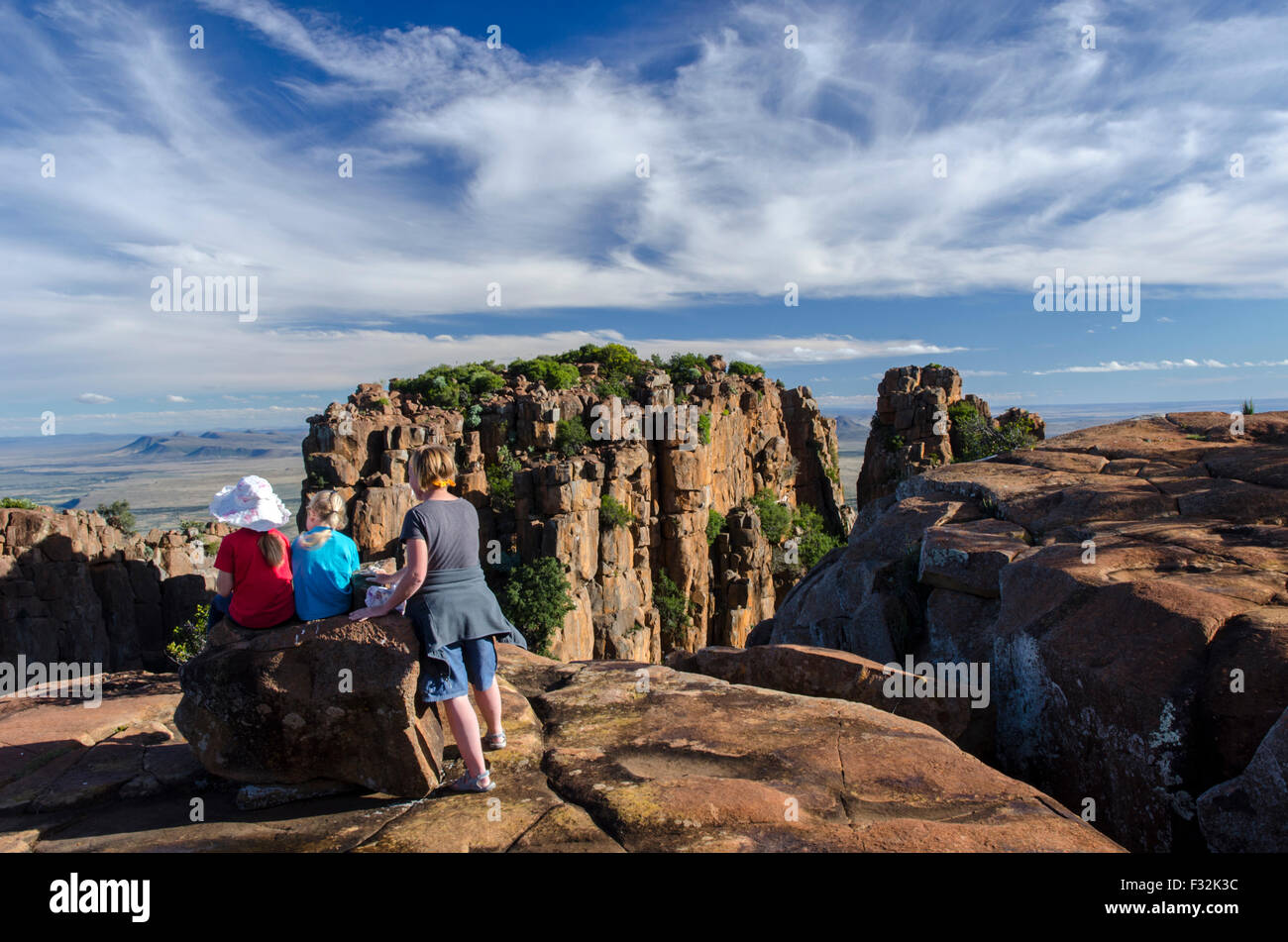 A family enjoying the view from the Valley of Desolation viewpoint - Stock Image