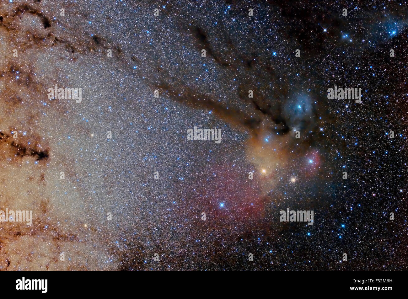 Star field and nebulae in Sagittarius and Rho Ophiuchus - Stock Image