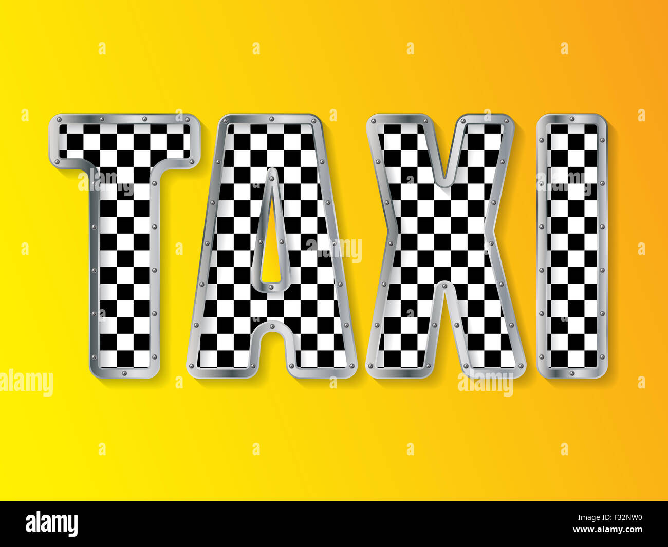 Abstract taxi company advertising background with metallic framed ...