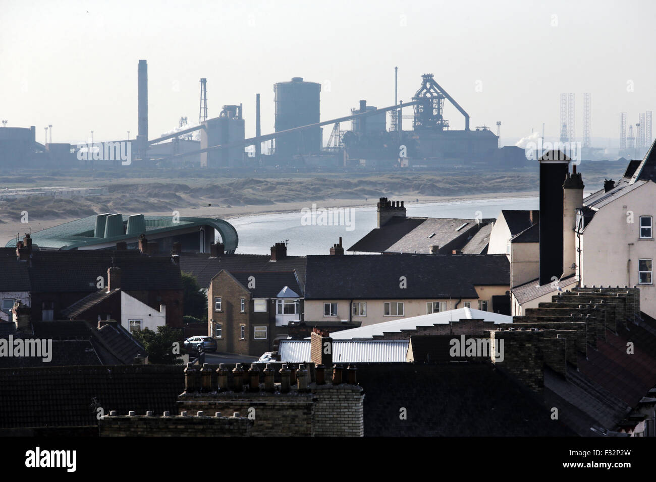 Redcar, UK. 28th September, 2015. The North East town of Redcar with it's steelworks in the background. Owners - Stock Image