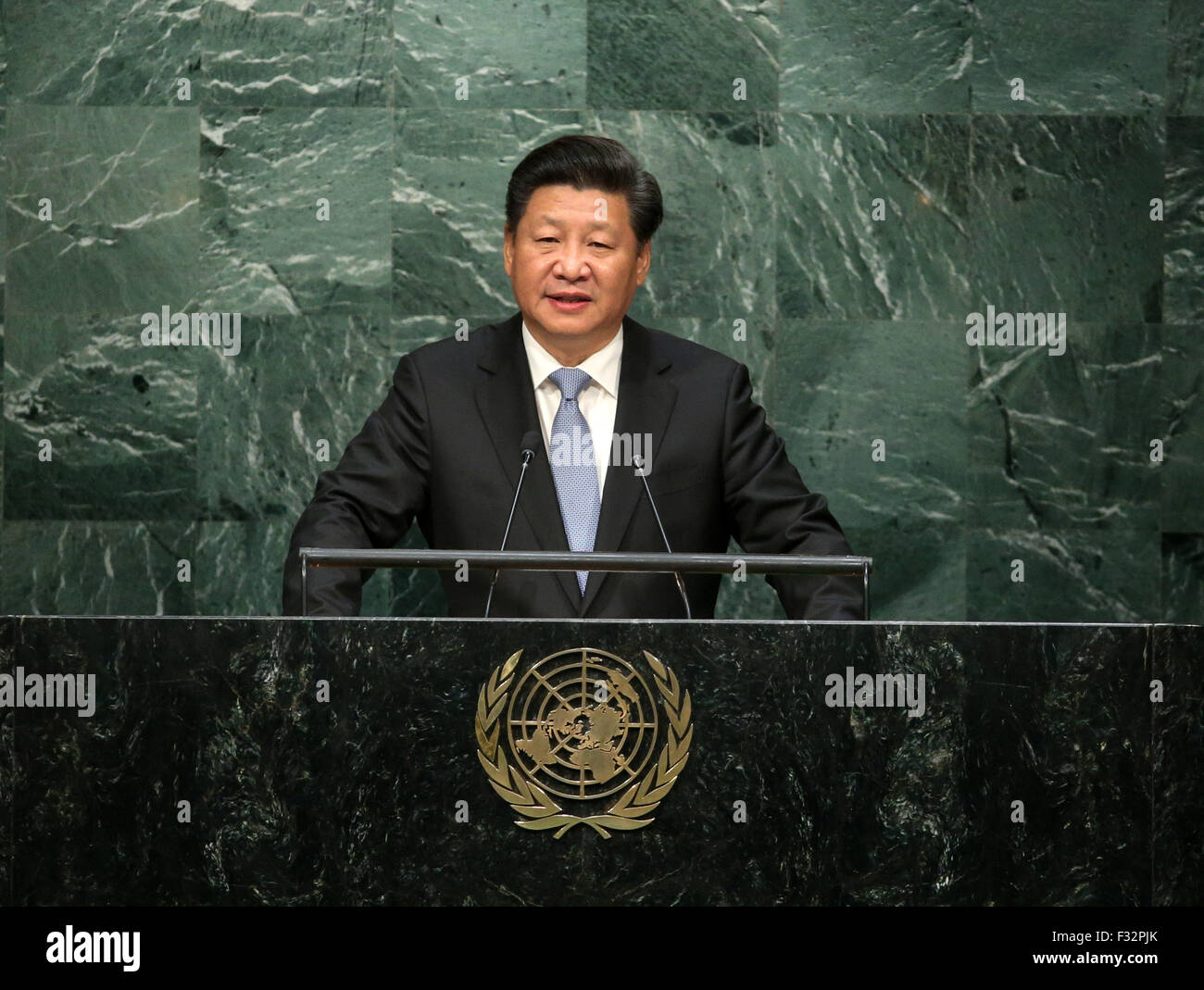 New York, USA. 28th Sep, 2015. Chinese President Xi Jinping addresses the annual high-level general debate of the - Stock Image