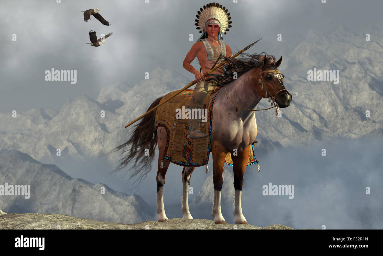 Two Bald Eagles fly near an American Indian with his paint horse on a tall cliff in a mountainous area. - Stock Image