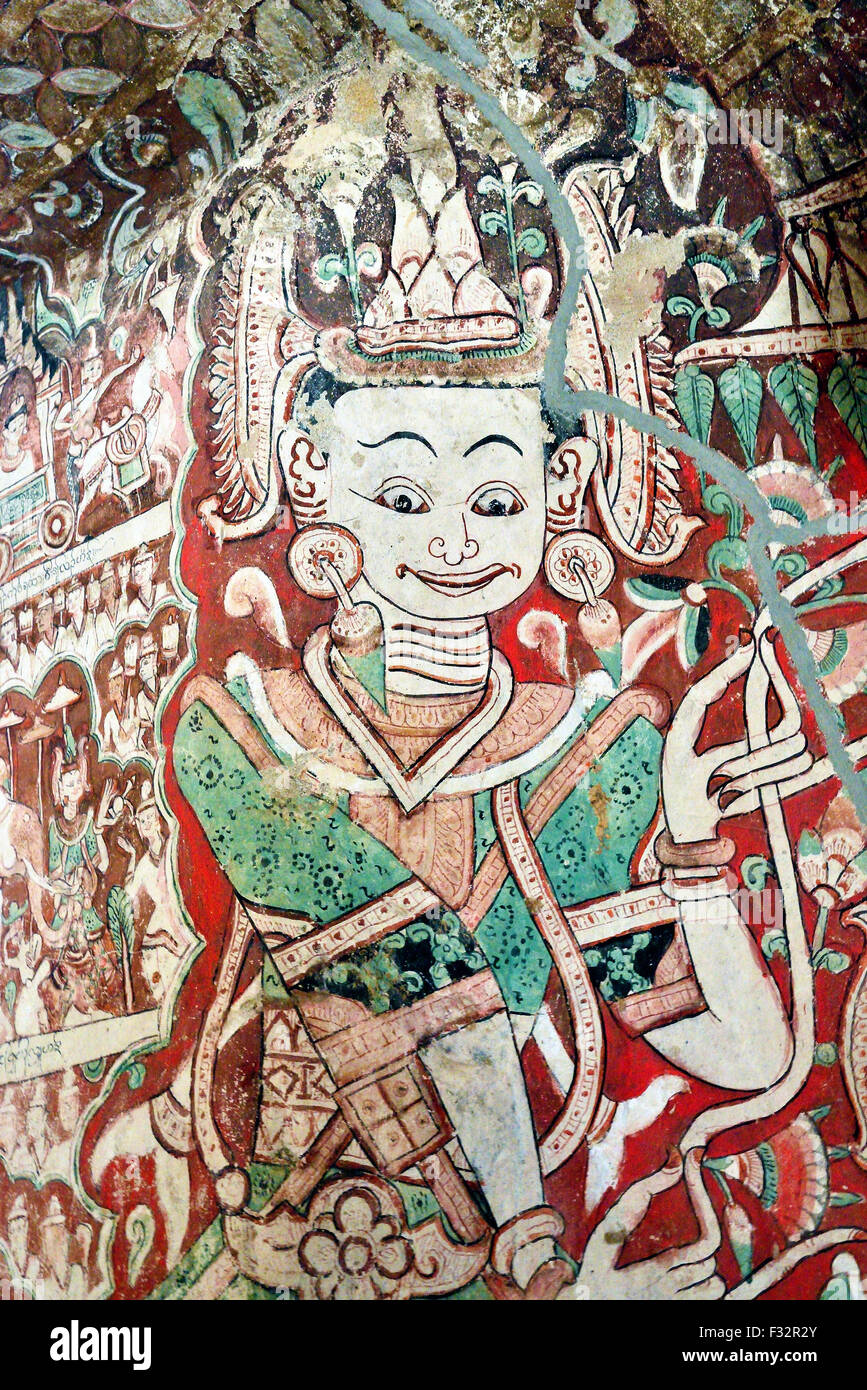 Detail from painted ceiling at the Hpo Win Daung cave complex also known as Pho Win Taung caves, Upper Burma, Myanmar Stock Photo
