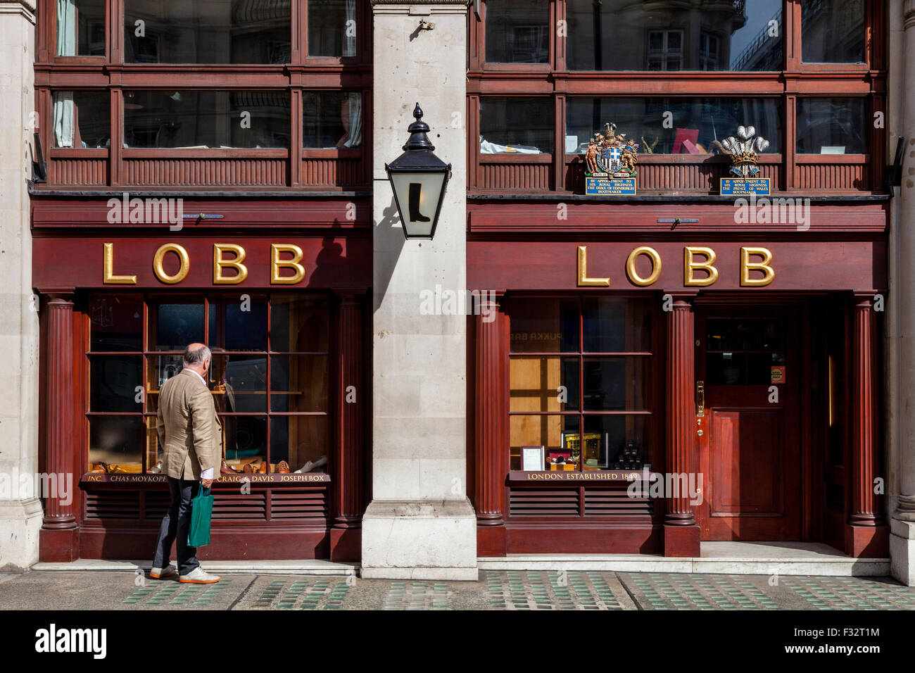 John Lobb Bootmakers & Footwear Shop, St James's Street, London, UK - Stock Image