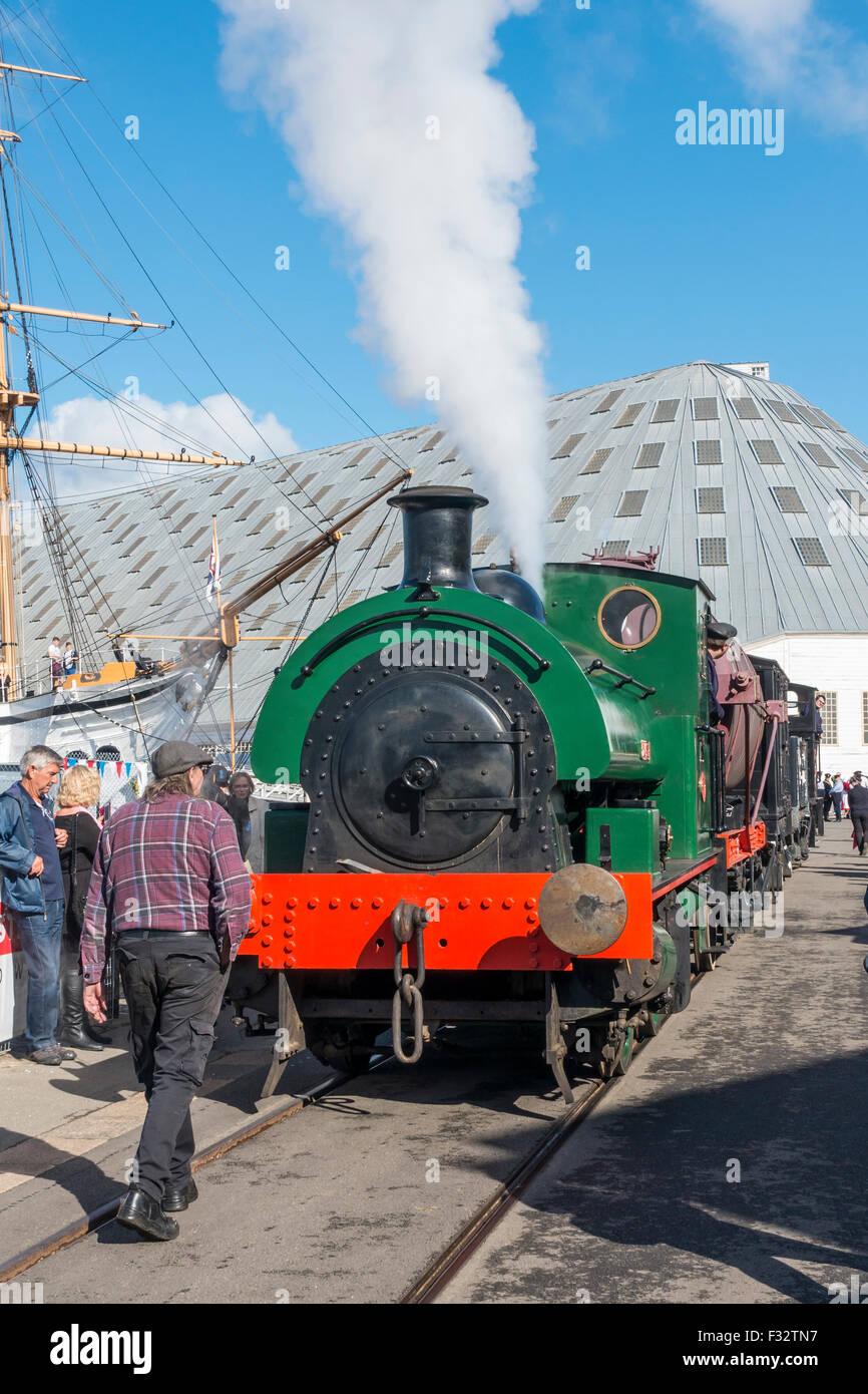 Steam Locomotive AJAX at Chatham Historic Dockyard In Steam - Stock Image